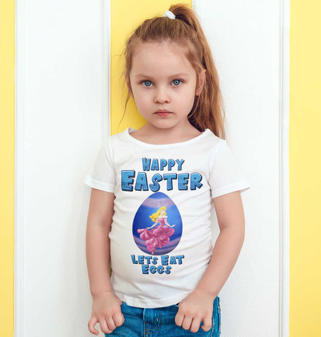 Easter Kids T Shirts Lets Eat Eggs Princess Aurora Happy Easter Kids Tees-Gildan-Daataadirect.co.uk
