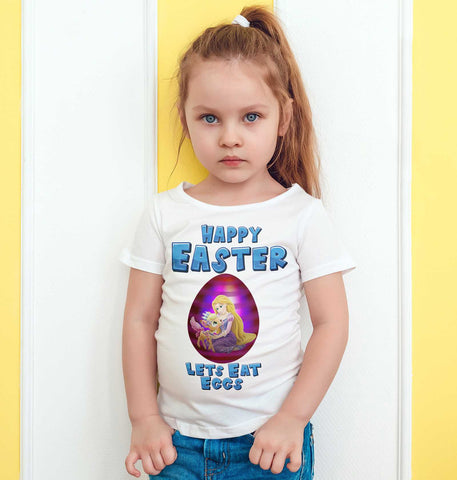 Easter Kids T Shirts Princess Rapunzel Easter Egg Lets Eat Eggs Kids Tees-Gildan-Daataadirect.co.uk