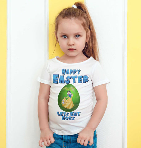 Easter Kids T Shirts Princess Snow White Easter Egg Lets Eat Eggs Kids Tees-Gildan-Daataadirect.co.uk