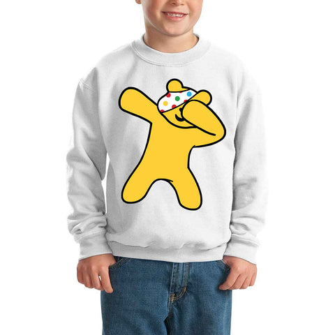 Dabbing Flossing Pudsey Bear Spotty Day - Kids SweatShirt-Gildan-Daataadirect.co.uk