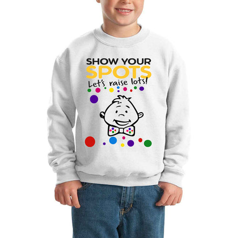 Pudsey Ribbon BOY Pudsey Bear Spotty Day - Kids SweatShirt-Gildan-Daataadirect.co.uk