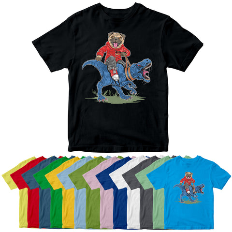 Pug Ride T Rex Kids Dinosaur Funny Dog Cartoon T-shirt-Gildan-Daataadirect.co.uk