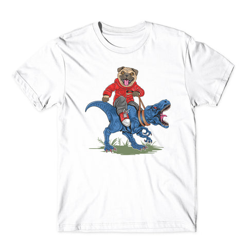 Pug Dog Riding T Rex Dinosaur funny Animals T-Shirt-Gildan-Daataadirect.co.uk