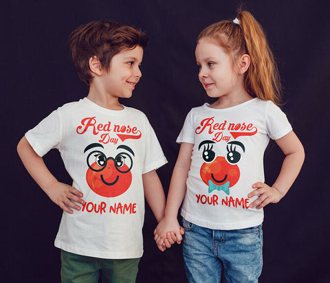 Personalised Red Nose Day Kids T-shirt 2021-Gildan-Daataadirect.co.uk