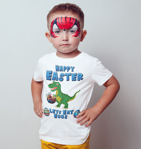 Rex Dino Happy Easter Lets Eat Eggs Kids T Shirts-Gildan-Daataadirect.co.uk