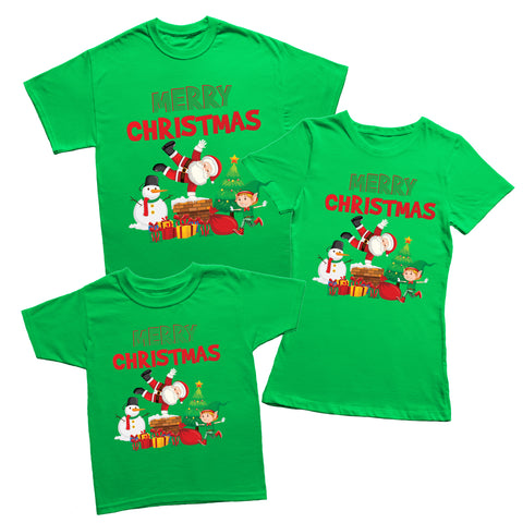 Christmas Santa Elf Snowman T-shirt-Gildan-Daataadirect.co.uk