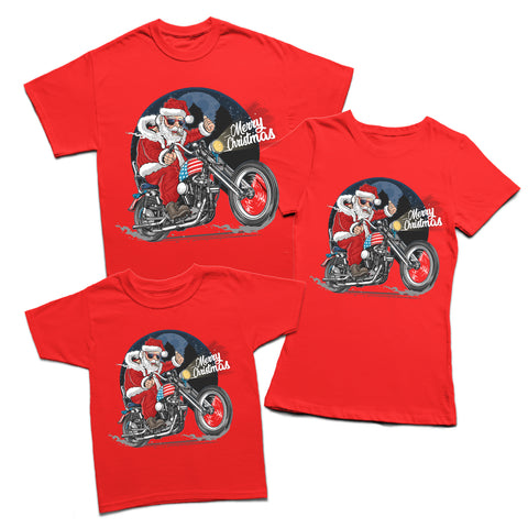 Santa Riding Motorbike Christmas T-Shirt-Gildan-Daataadirect.co.uk