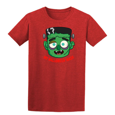 Scary Halloween Green Creepy Mask Mens T-Shirt Antique Cherry Red 2XL