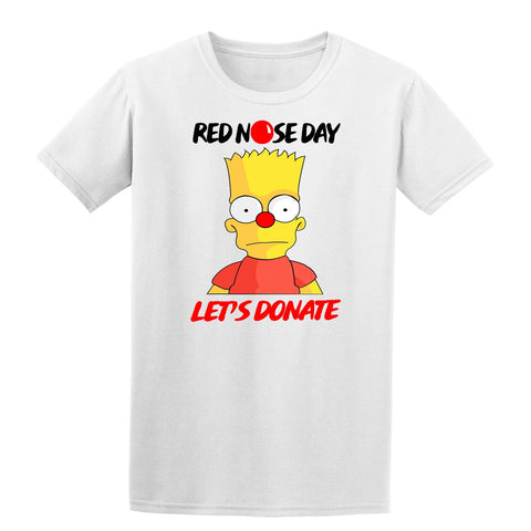 Simpson Red Nose Day Boy Girl School Kids T-Shirt-Gildan-Daataadirect.co.uk