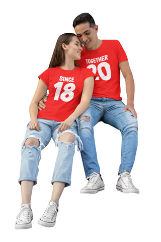 Since 18 Together 20 Valentines Gift Couples T-Shirt-Gildan-Daataadirect.co.uk