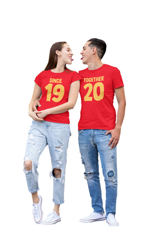Together 20 and 19 Years Valentines Couple T-Shirts-Gildan-Daataadirect.co.uk