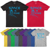 Space Is Fake Mens T Shirt Flat Earth Funny Saying For Space Person T-Shirt-Gildan-Daataadirect.co.uk