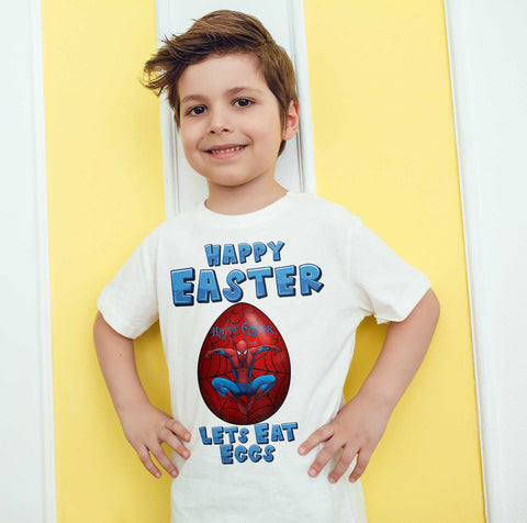 Easter Kids T Shirts Spider Easter Egg Happy Easter Lets Eat Eggs Kids Tees-Gildan-Daataadirect.co.uk