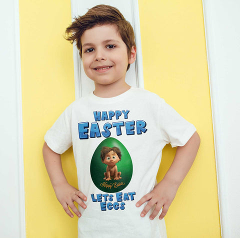 Easter Kids T Shirts Spot Easter Egg Happy Easter Lets Eat Eggs Kids Tees-Gildan-Daataadirect.co.uk