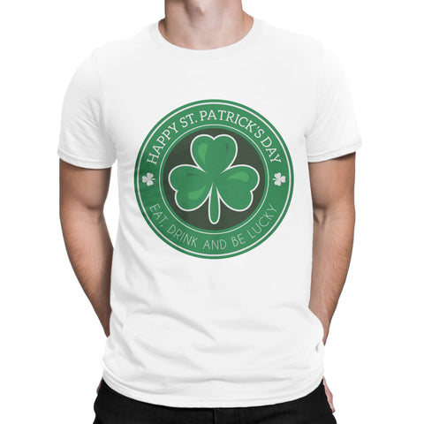 St Patrick Day Eat Drink And Be Lucky Mens Womens Unisex T Shirts-Gildan-Daataadirect.co.uk