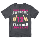 Birthday Gift Kid's T-Shirt Awesome 12 Year Old Girl T-Shirt-Gildan-Daataadirect.co.uk