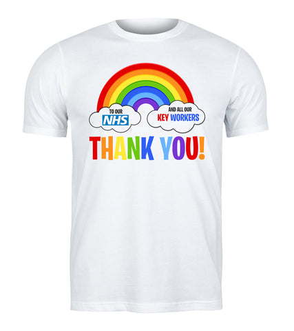 Thank You NHS And Key Worker Nurse Doctor Rainbow NHS T-Shirt-Gildan-Daataadirect.co.uk