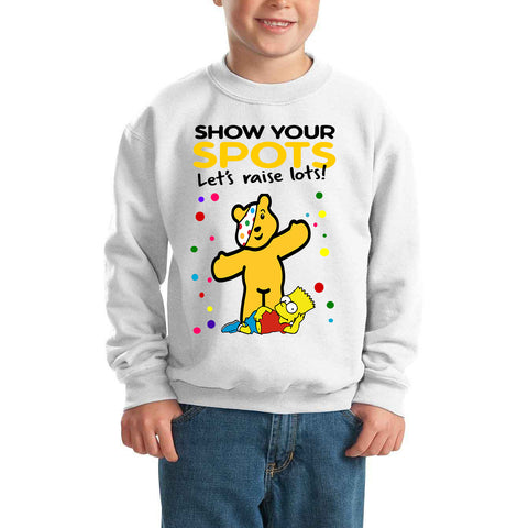 The Simpsons Pudsey Bear Spotty Day - Kids SweatShirt-Gildan-Daataadirect.co.uk
