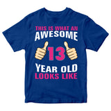 Birthday Gift Kid's T-Shirt Awesome 13 Year Old Girl T-Shirt-Gildan-Daataadirect.co.uk