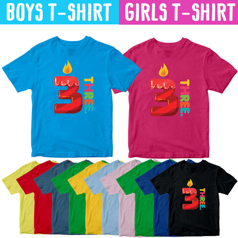 3rd Birthday Kids T-shirt Age Three Years Boys Girls Birthday T-Shirt-Gildan-Daataadirect.co.uk