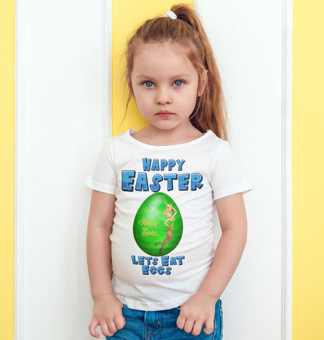 Easter Kids T Shirts Tinkerbell Easter Egg Happy Easter Lets Eat Eggs Kids Tees-Gildan-Daataadirect.co.uk