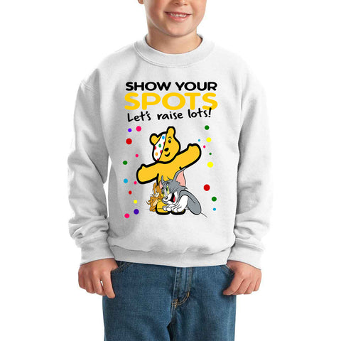 Tom and Jerry Pudsey Bear Spotty Day - Kids SweatShirt-Gildan-Daataadirect.co.uk
