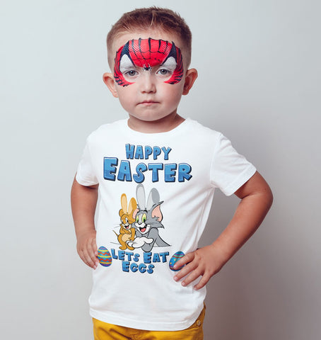 Tom and Jerry Happy Easter Lets Eat Eggs Kids T Shirts-Gildan-Daataadirect.co.uk