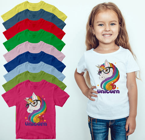 Unicorn Girls T-shirt Magical Cute Horn Horse Children Top Tee
