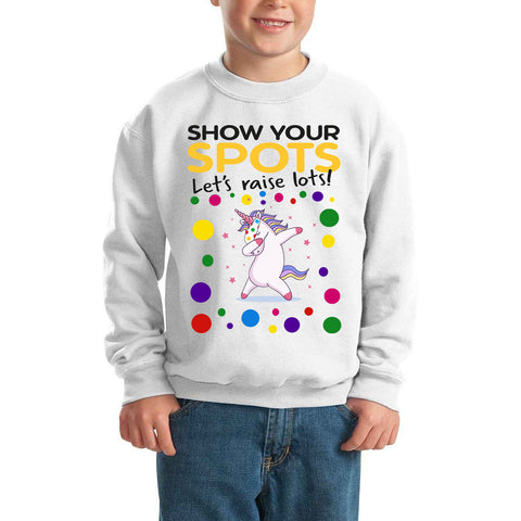 Unicorn Pudsey Bear Spotty Day - Kids SweatShirt-Gildan-Daataadirect.co.uk