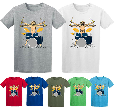 Musical Instrument Vitruvian Man Funny Drum T-Shirt-Gildan-Daataadirect.co.uk