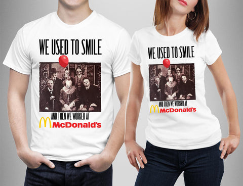 We used to Smile Then Worked MsDonald's Horror Friends T-shirt-Gildan-Daataadirect.co.uk