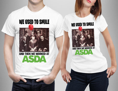 We used to Smile Then Worked at ASDA Horror Friends T-shirt-Gildan-Daataadirect.co.uk