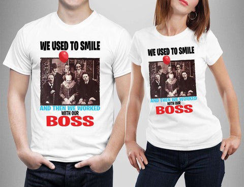 We used to Smile Then Worked with our boss Horror Friends T-shirt-Gildan-Daataadirect.co.uk