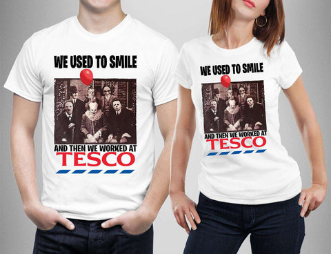 We used to Smile Then Worked at Tesco Horror Friends T-shirt-Gildan-Daataadirect.co.uk