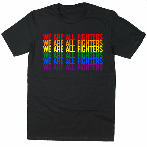 We are all fighters UFC LGBT Rainbow T-shirt-Gildan-Daataadirect.co.uk