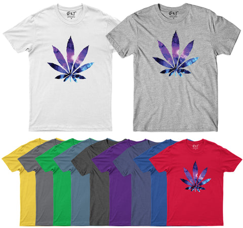 Best Glaxy Weed Leaf Mens T Shirt Stoner Kush Pot 420 Tee Top