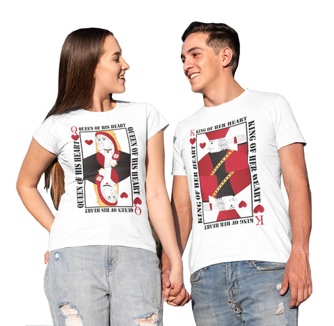 King Her Heart And Queen His Heart Valentine's Day T-Shirts-Gildan-Daataadirect.co.uk