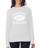 "[daataadirect.co.uk]-Made in 1957 All Orignal Parts Women Sweat Shirts White-SweatShirts-ANVIL-White-S UK 10 Euro 34 Bust 32""-Daataadirect"
