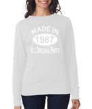 Made in 1987 All Original Parts Women Sweat Shirts White-ANVIL-Daataadirect.co.uk