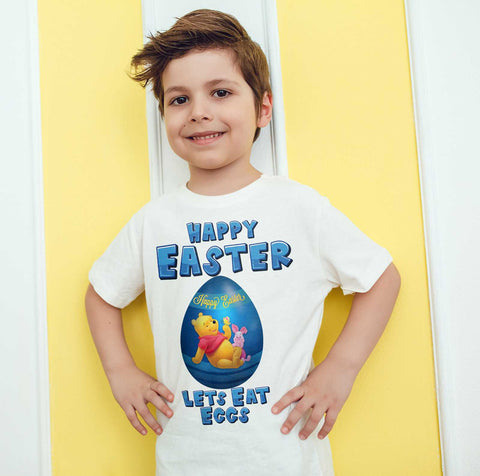 Easter Kids T Shirts Winnie Pooh Easter Egg Happy Easter Lets Eat Eggs Kids Tees-Gildan-Daataadirect.co.uk