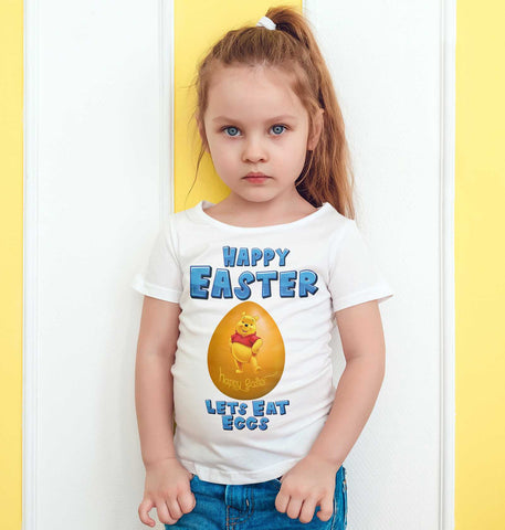 Easter Kids T Shirts Winnie Pooh yellow Easter Egg Lets Eat Eggs Kids Tees-Gildan-Daataadirect.co.uk