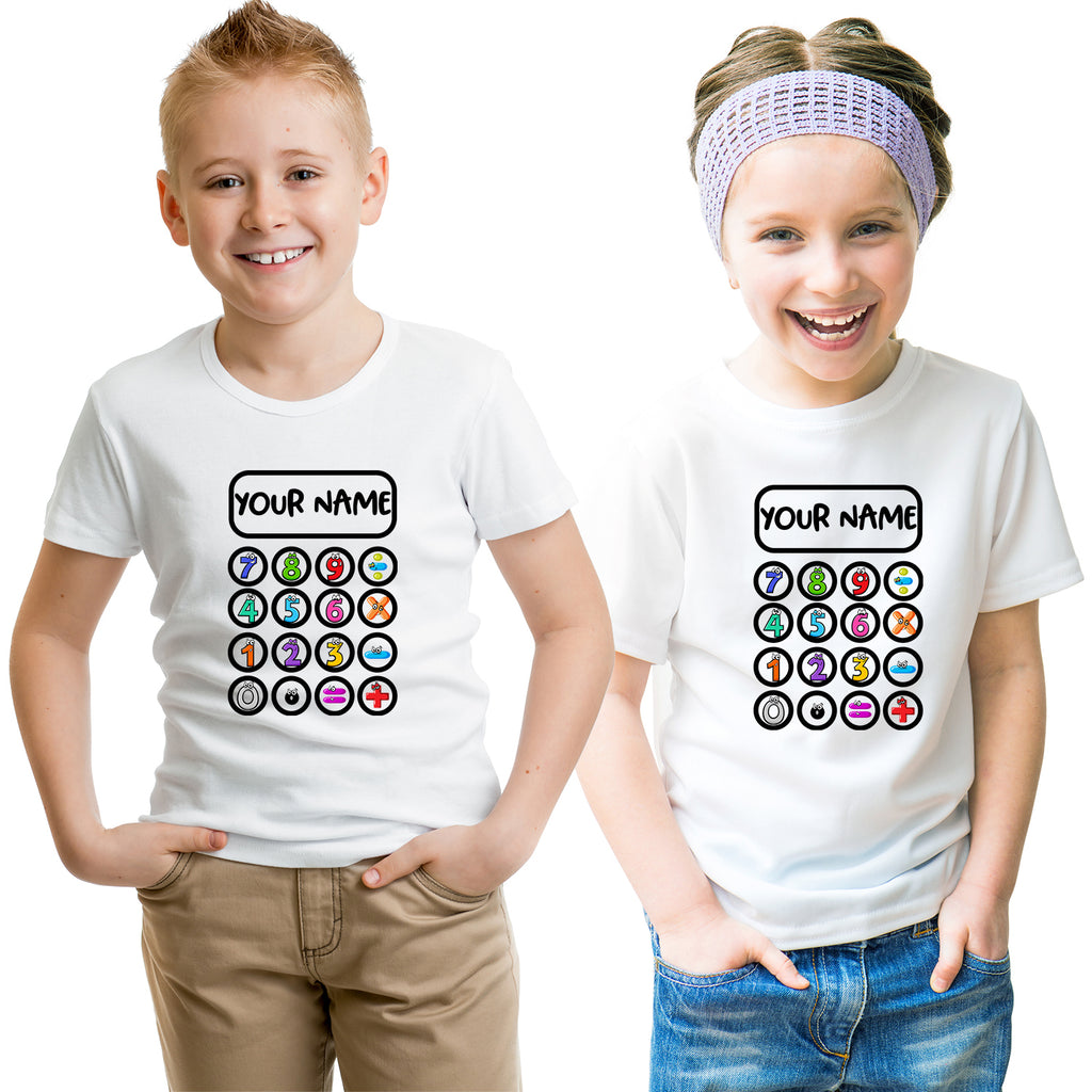 Kids Novelty T Shirt  School Maths Day Numbers Faces