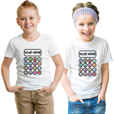 School Maths Day 2020 Calculator Kid's T-Shirt-Gildan-Daataadirect.co.uk