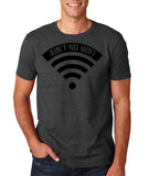 "aint no wifi Black Mens T Shirt-T Shirts-Gildan-Dk Heather-S To Fit Chest 36-38"" (91-96cm)-Daataadirect"
