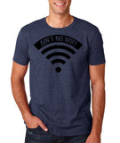 "aint no wifi Black Mens T Shirt-T Shirts-Gildan-Heather Navy-S To Fit Chest 36-38"" (91-96cm)-Daataadirect"
