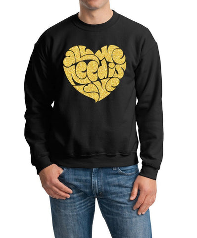 All We Need Is Love Men Sweat Shirts Gold Glitter-Gildan-Daataadirect.co.uk