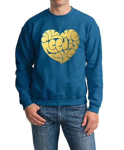 All We Need Is Love Men Sweat Shirts Gold-Gildan-Daataadirect.co.uk