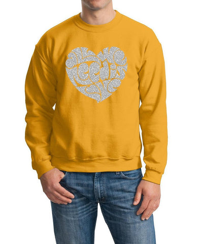 All We Need Is Love Men Sweat Shirts Silver Glitter-Gildan-Daataadirect.co.uk