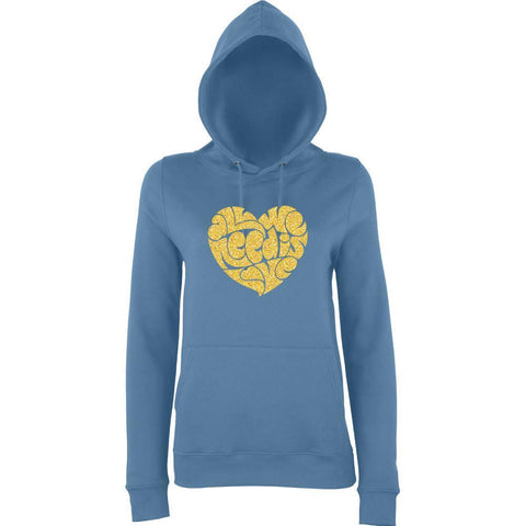 "All We Need Is Love Women Hoodies Gold Glitter-Hoodies-AWD-Airforce Blue-S UK 10 Euro 34 Bust 32""-Daataadirect"