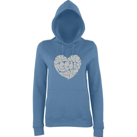 All We Need Is Love Women Hoodies Silver Glitter-AWD-Daataadirect.co.uk